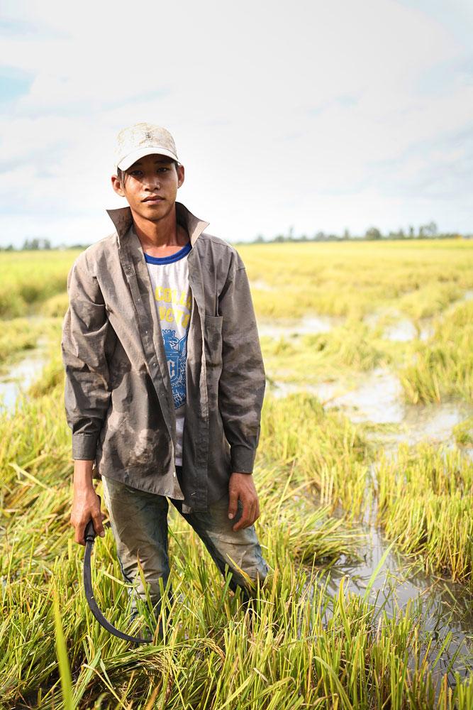 Fotografie eines Reisbauern